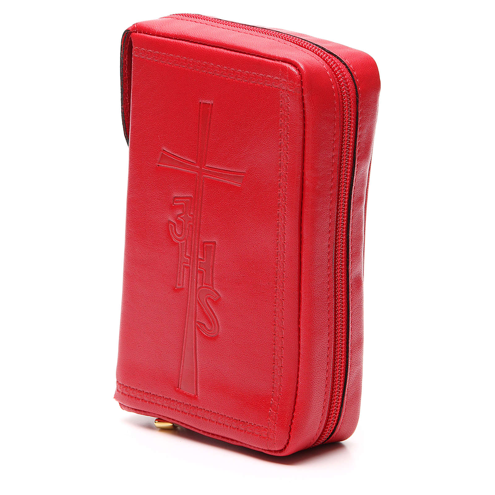 Custodia Lit Ore vol unico pelle rossa croce IHS zip 4