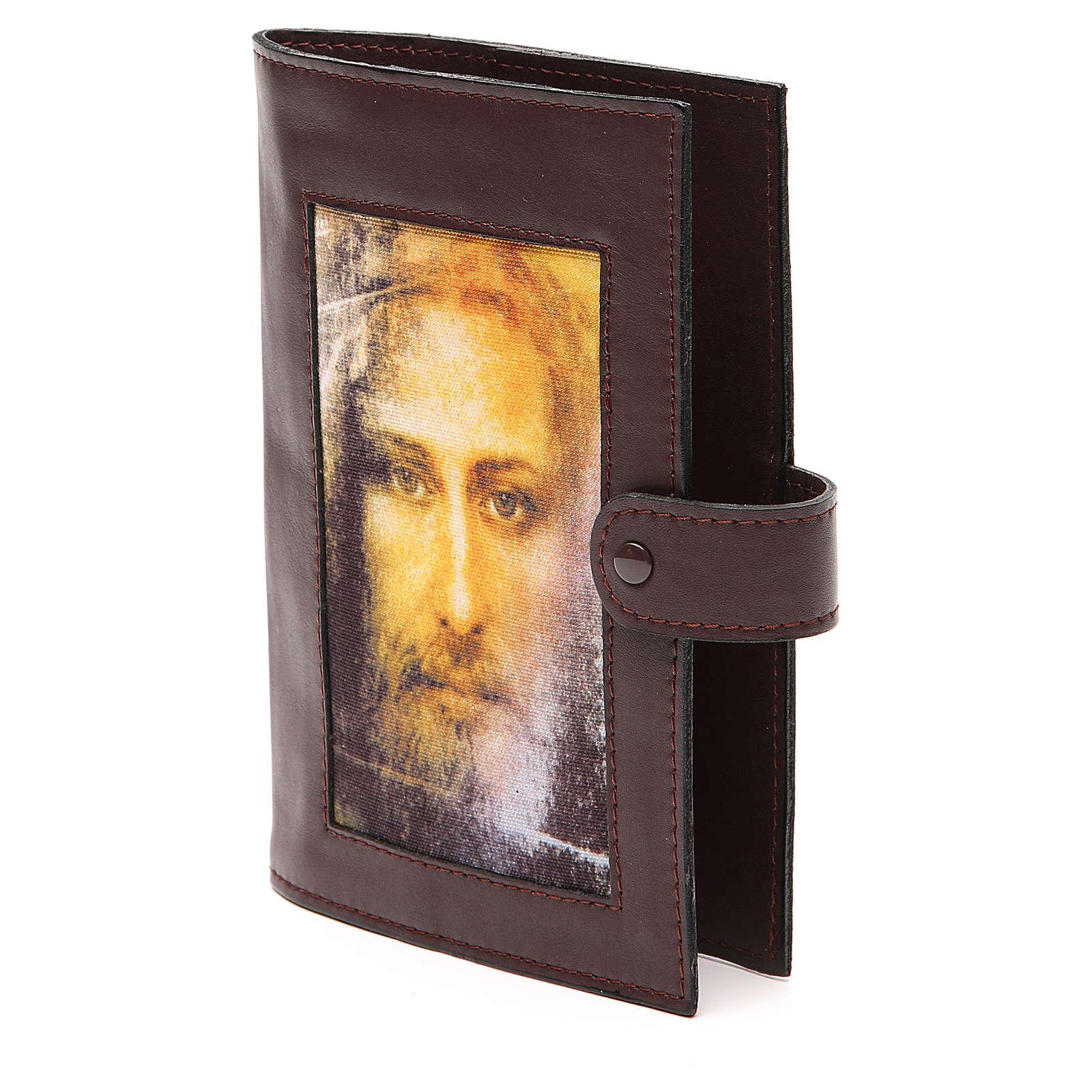 Couv. Lit. Heures 4 vol. cuir brun foncé Visage Christ 4