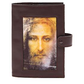 Couv. Lit. Heures 4 vol. cuir brun foncé Visage Christ s1