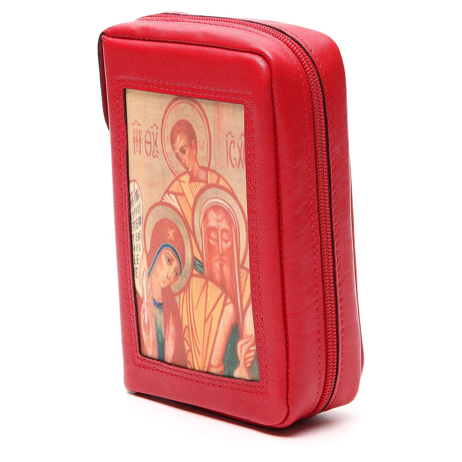 Capa Liturgia Horas 4 vol. vermelha Sagrada Família Neocatecumenal fecho de correr 4