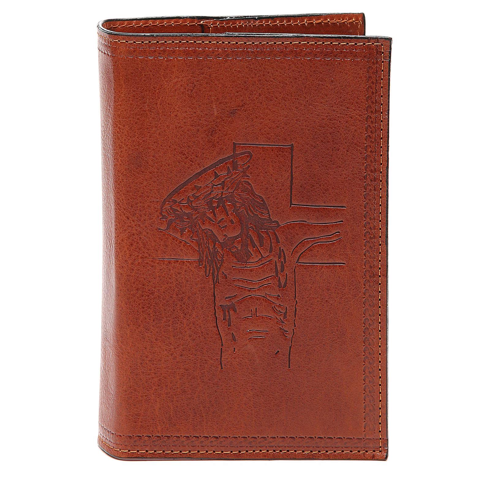 Custodia 4 Vol. marrone pelle Cristo impresso 4