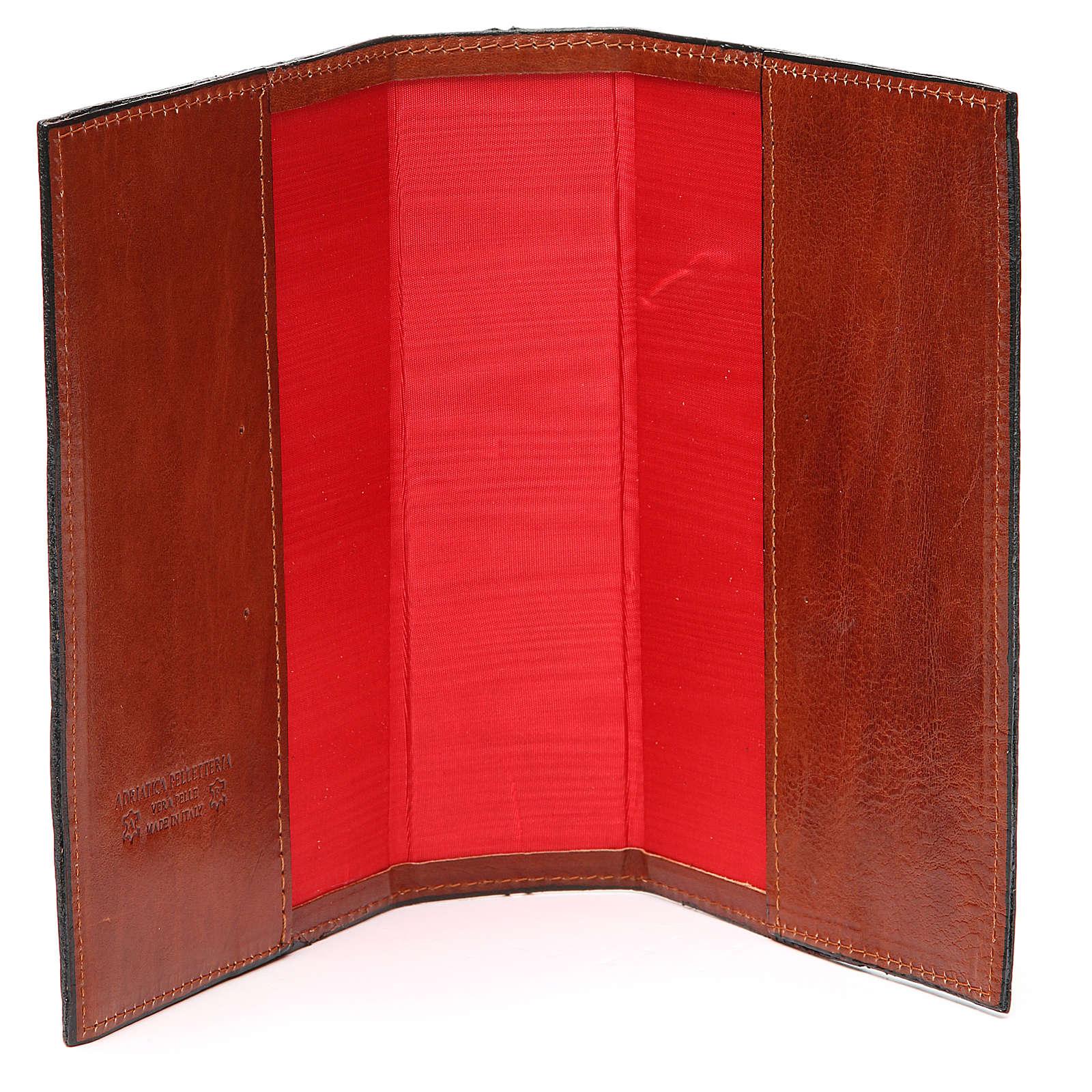 Couverture 4 vol. brun cuir Croix imprimée 4