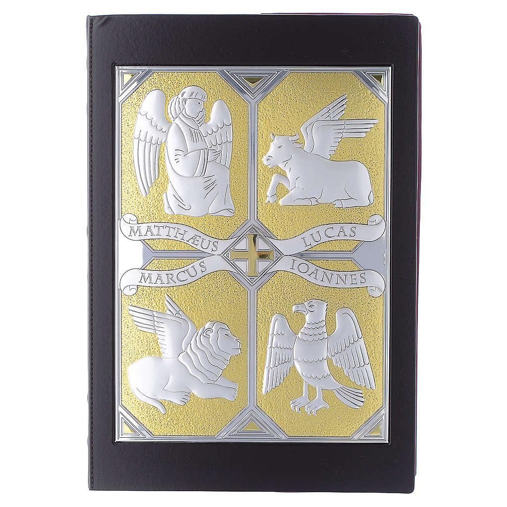 Einband Evangelium 4 Schreibern Evangelium silbrig vergoldet 4