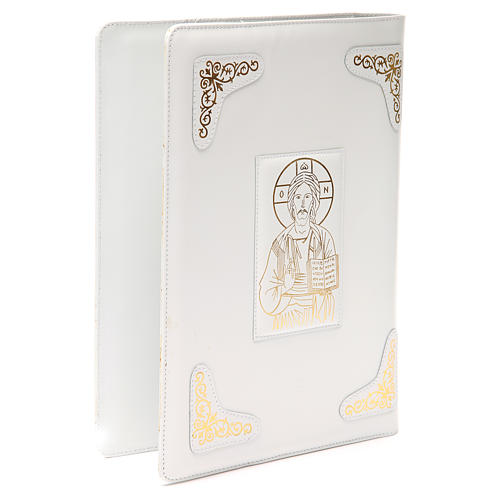 Gospel book cover in white leather with extra manufacture and image of Christ Pantocrator 3