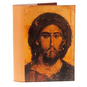 Copri lezionario vera pelle icona Cristo e Madonna s1