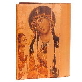 Copri lezionario vera pelle icona Cristo e Madonna s2