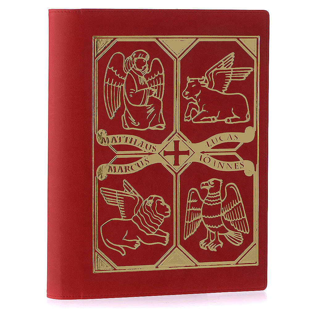 Copri lezionario vera pelle Evangelisti rosso 4
