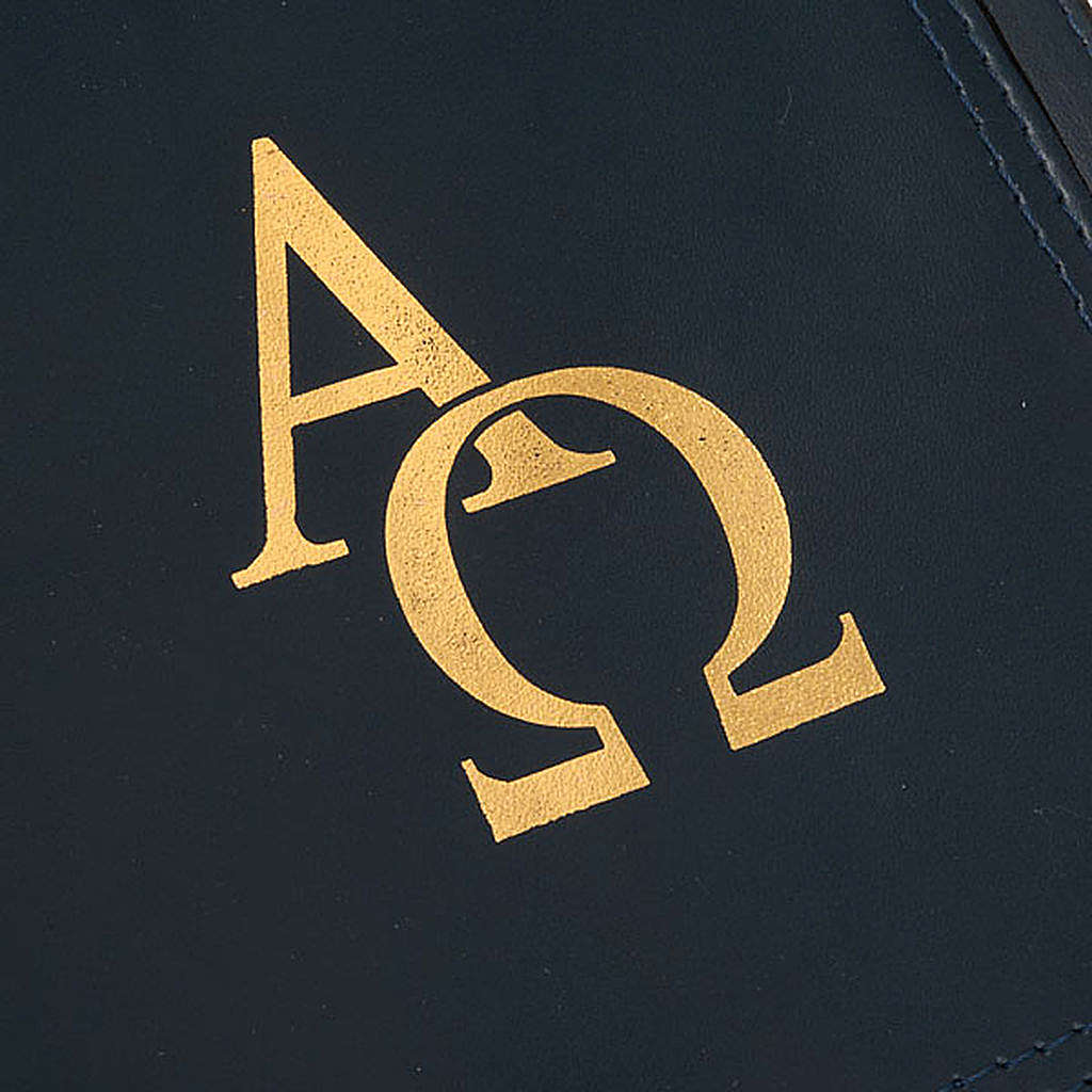 Leather Missal Cover with Alpha Omega in Blue 4