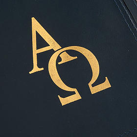 Leather Missal Cover with Alpha Omega in Blue s4