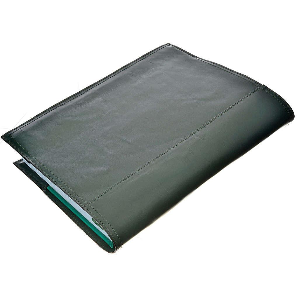 Couverture pour lectionnaire cuir alpha oméga vert foncé 4
