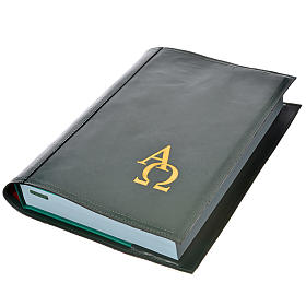 Alpha Omega Missal Cover in real leather in green s1
