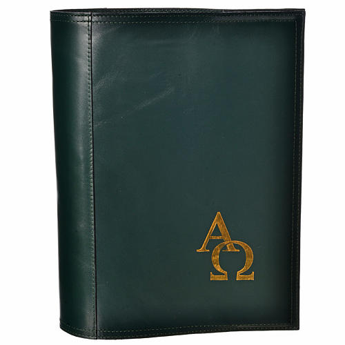 Alpha Omega Missal Cover in real leather in green 2