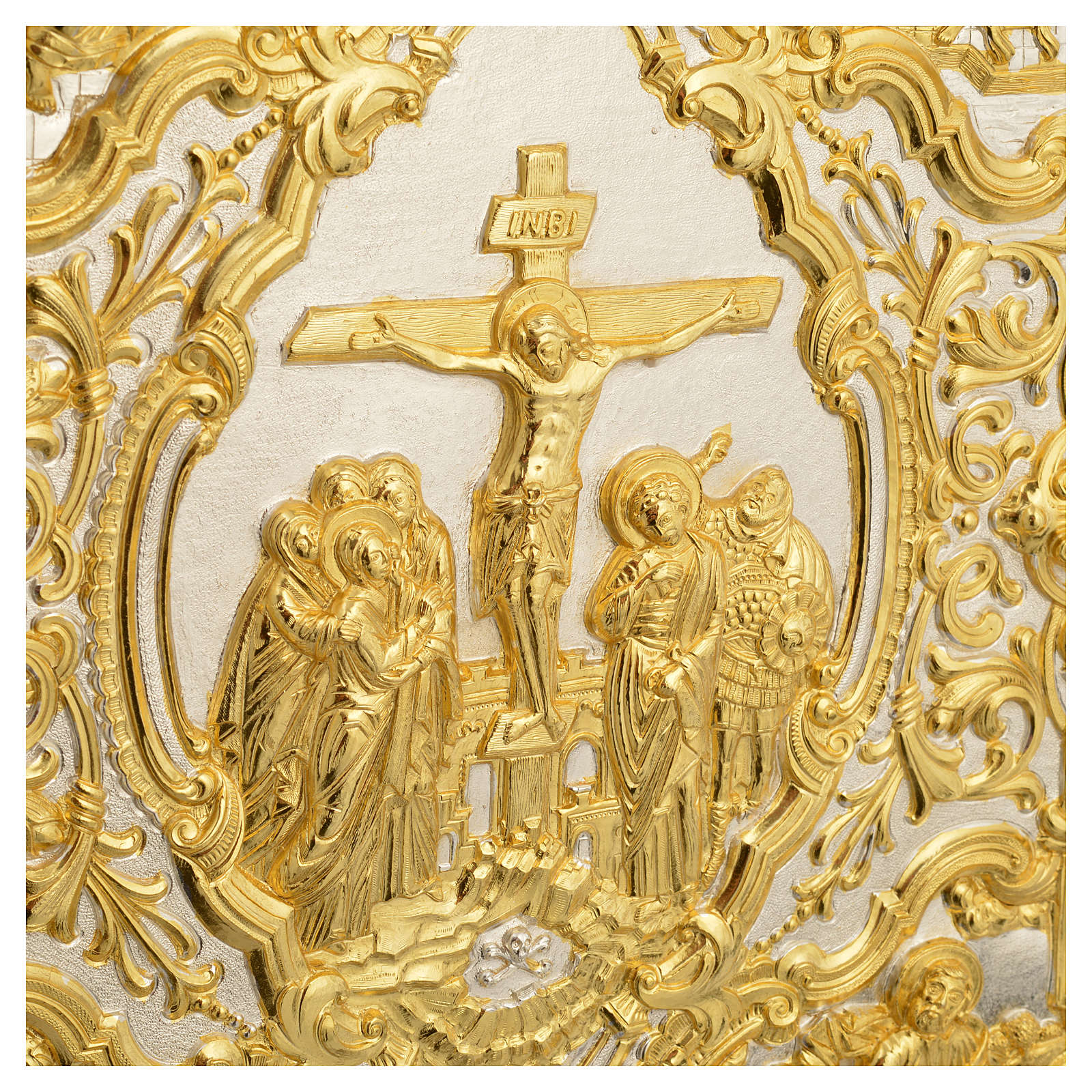 Coprilezionario ottone dorato scena Crocifissione 4
