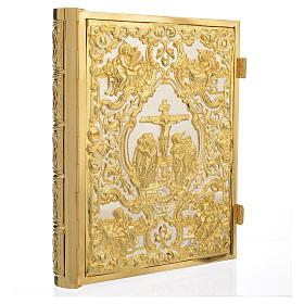 Coprilezionario ottone dorato scena Crocifissione s1