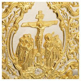 Coprilezionario ottone dorato scena Crocifissione s5