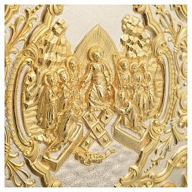 Coprilezionario ottone dorato scena Crocifissione s7