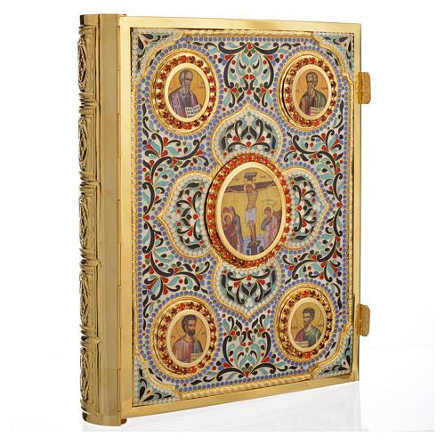 Coprilezionario ottone dorato con smalti Gesù Evangelisti 1