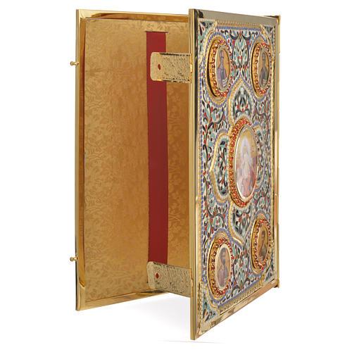 Coprilezionario ottone dorato con smalti Gesù Evangelisti 3
