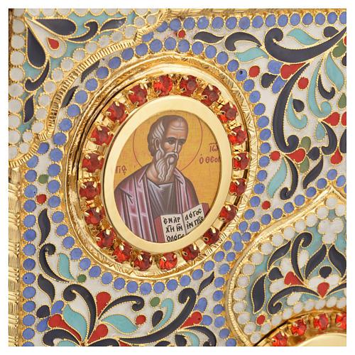 Coprilezionario ottone dorato con smalti Gesù Evangelisti 6