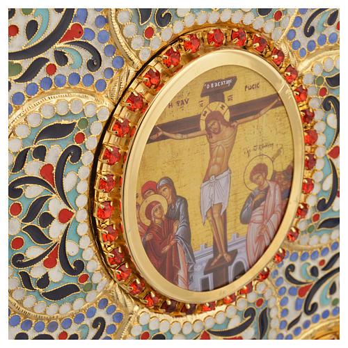 Coprilezionario ottone dorato con smalti Gesù Evangelisti 7