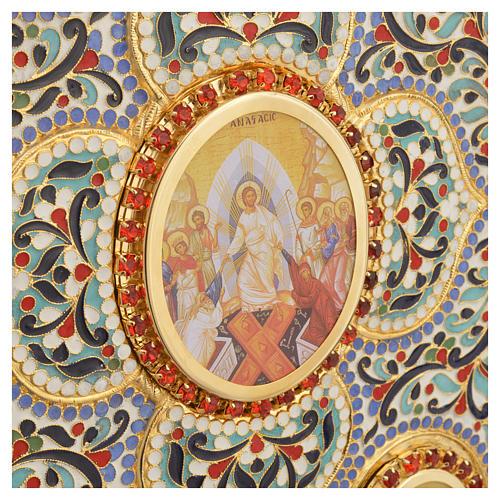 Coprilezionario ottone dorato con smalti Gesù Evangelisti 9