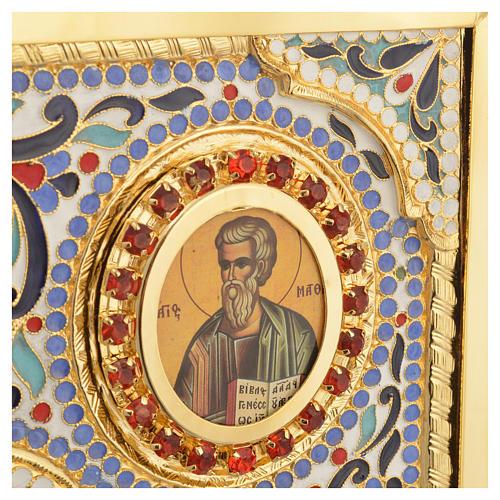 Coprilezionario ottone dorato con smalti Gesù Evangelisti 10