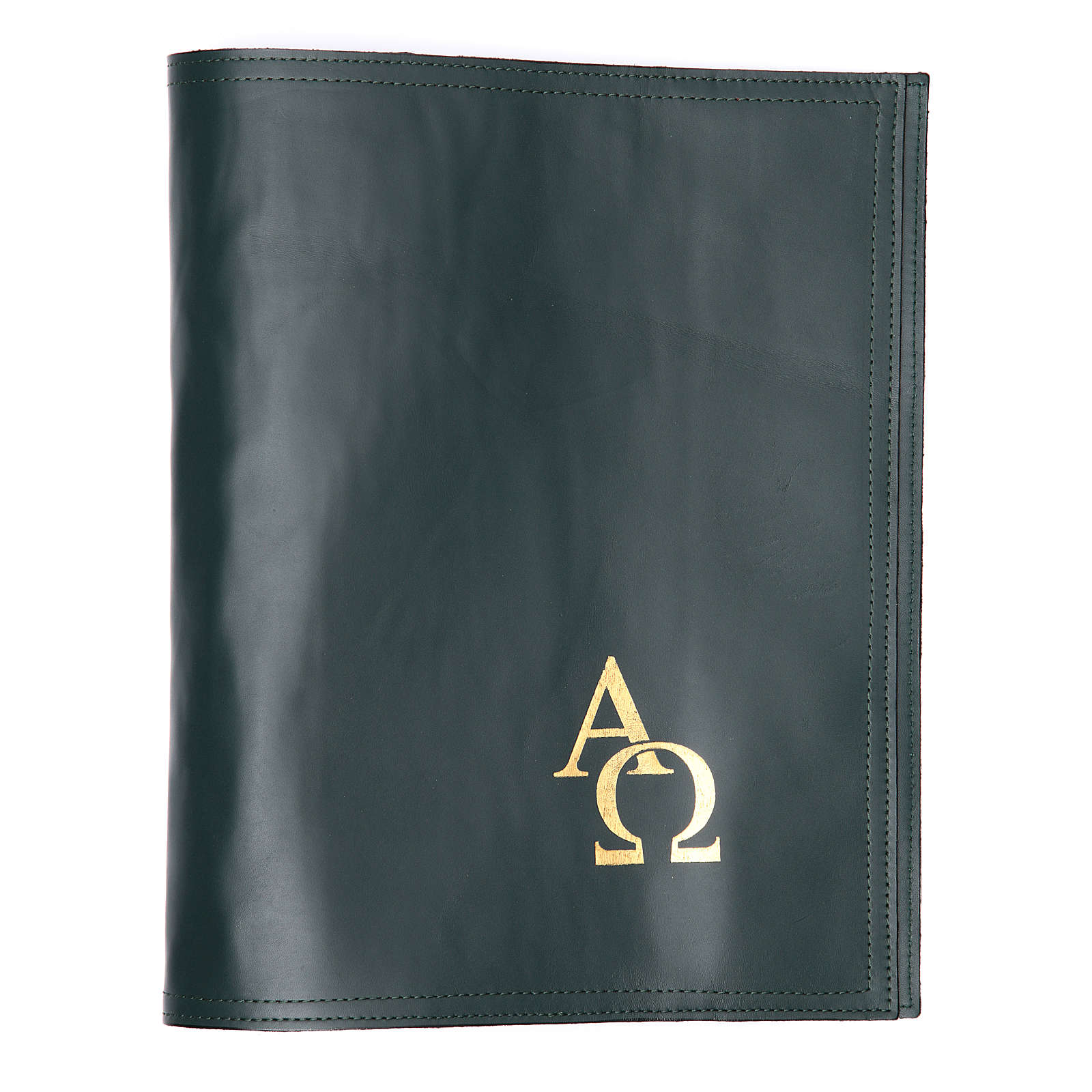 Cover fo benedictional in leather with alpha and omega, green 4