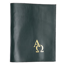 Cover fo benedictional in leather with alpha and omega, green s1