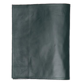Cover fo benedictional in leather with alpha and omega, green s2