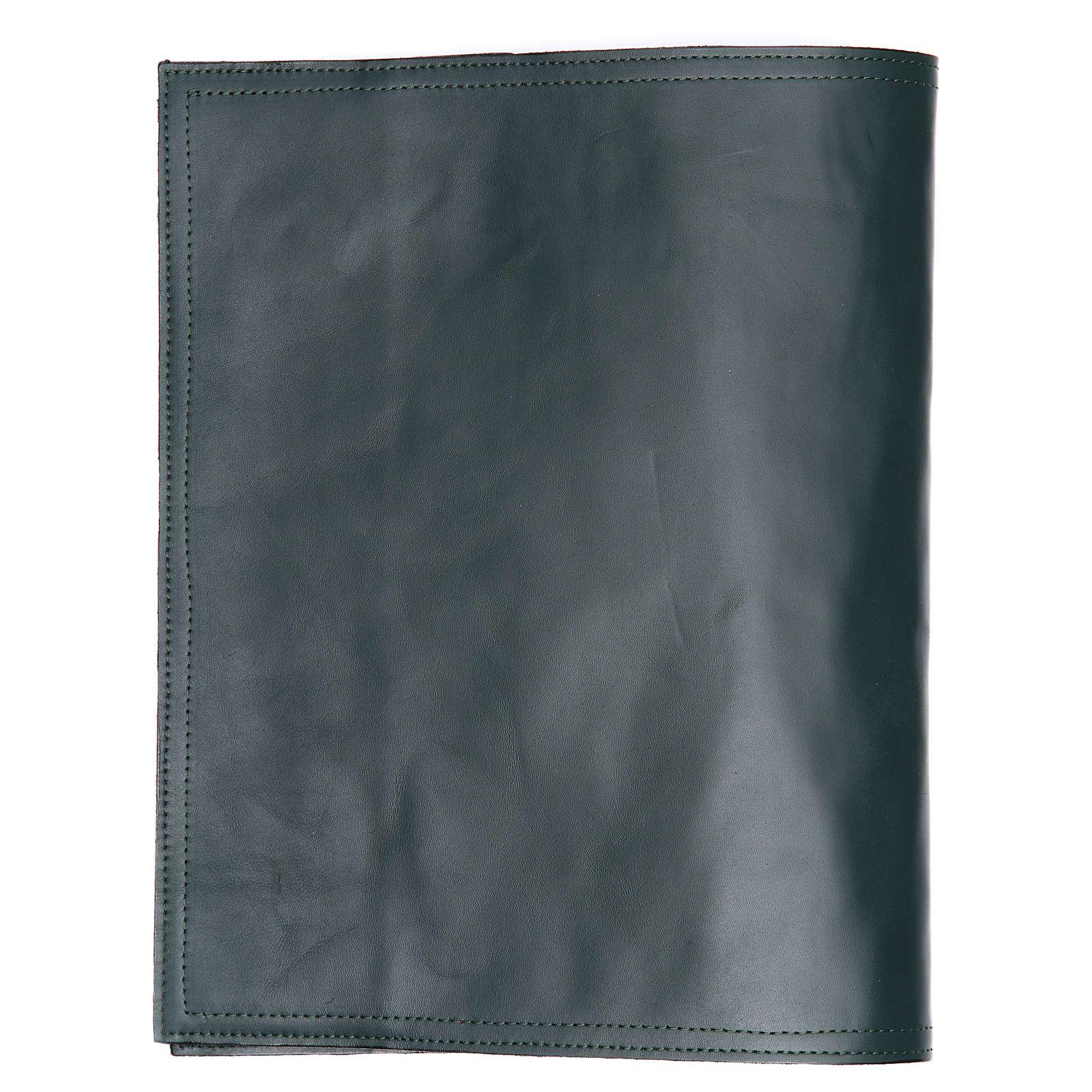 Couverture lectionnaire des Saints Alpha Oméga vert cuir 4