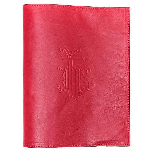 Coprilezionario pelle rossa scritta impressa IHS 1