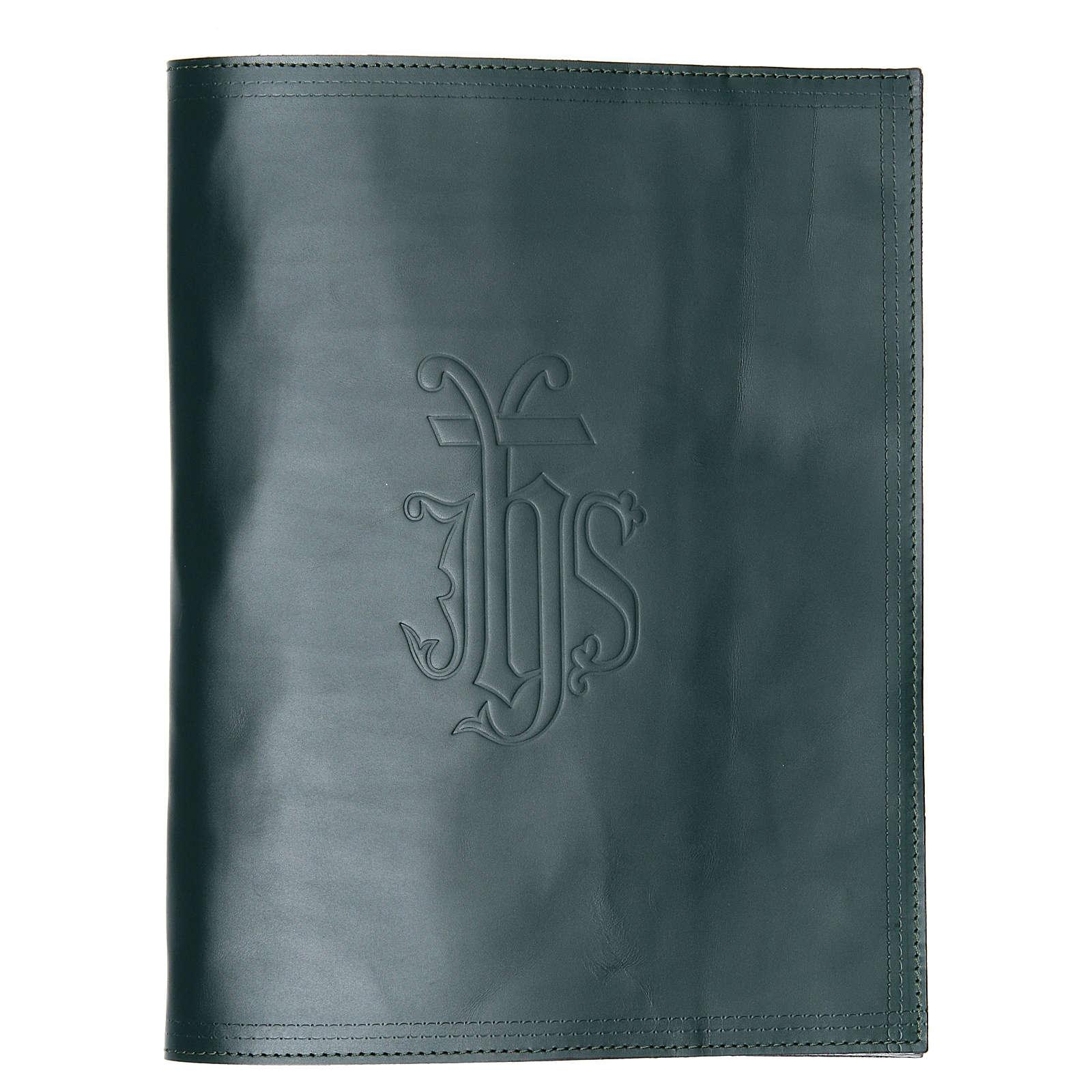 Coprilezionario pelle verde scritta impressa IHS 4