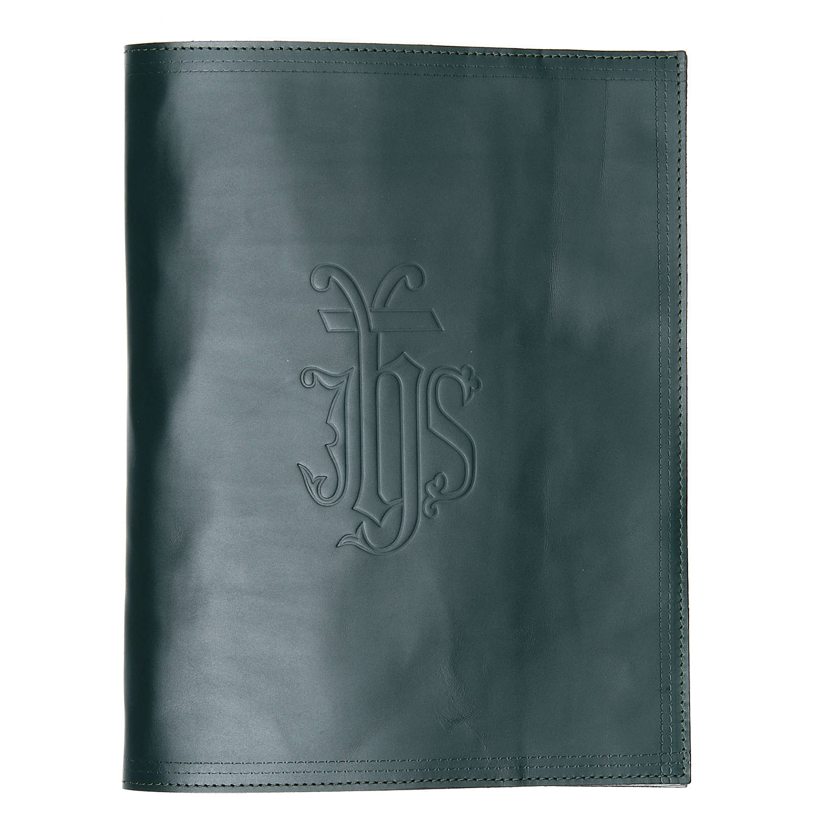 Lectionary cover in green leather with IHS writing 4