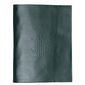 Lectionary cover in green leather with IHS writing s1
