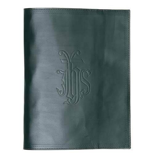 Lectionary cover in green leather with IHS writing 1