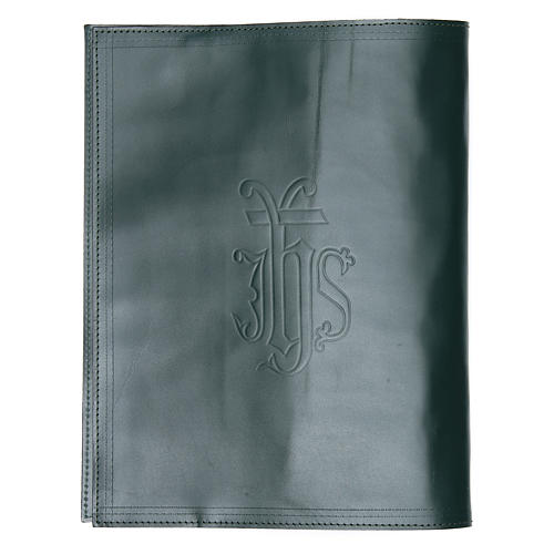 Lectionary cover in green leather with IHS writing 2