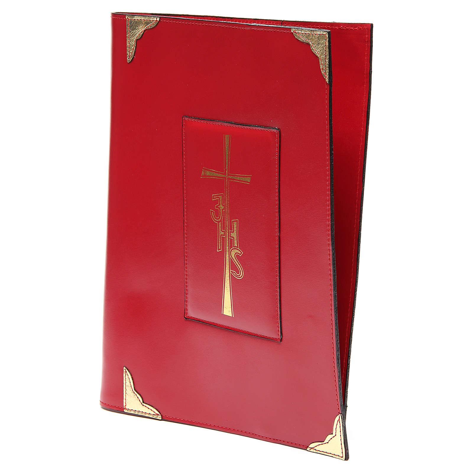 Coprilezionario feriale festivo pelle rossa Croce IHS 4