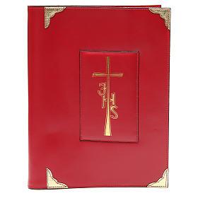 Coprilezionario feriale festivo pelle rossa Croce IHS s1