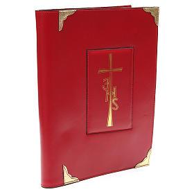 Coprilezionario feriale festivo pelle rossa Croce IHS s3
