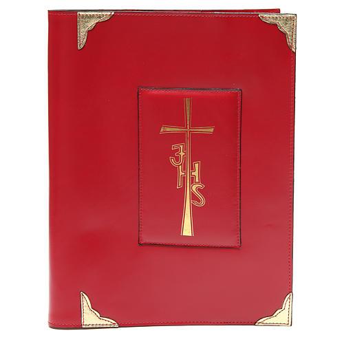 Coprilezionario feriale festivo pelle rossa Croce IHS 1