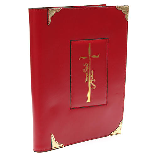 Coprilezionario feriale festivo pelle rossa Croce IHS 3