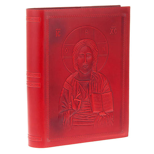 Missal cover in real red leather, Pantocrator 1