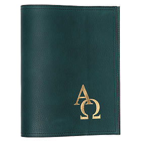 Missal and Benedictional covers: Cover for missal in green leather with alpha and omega, small