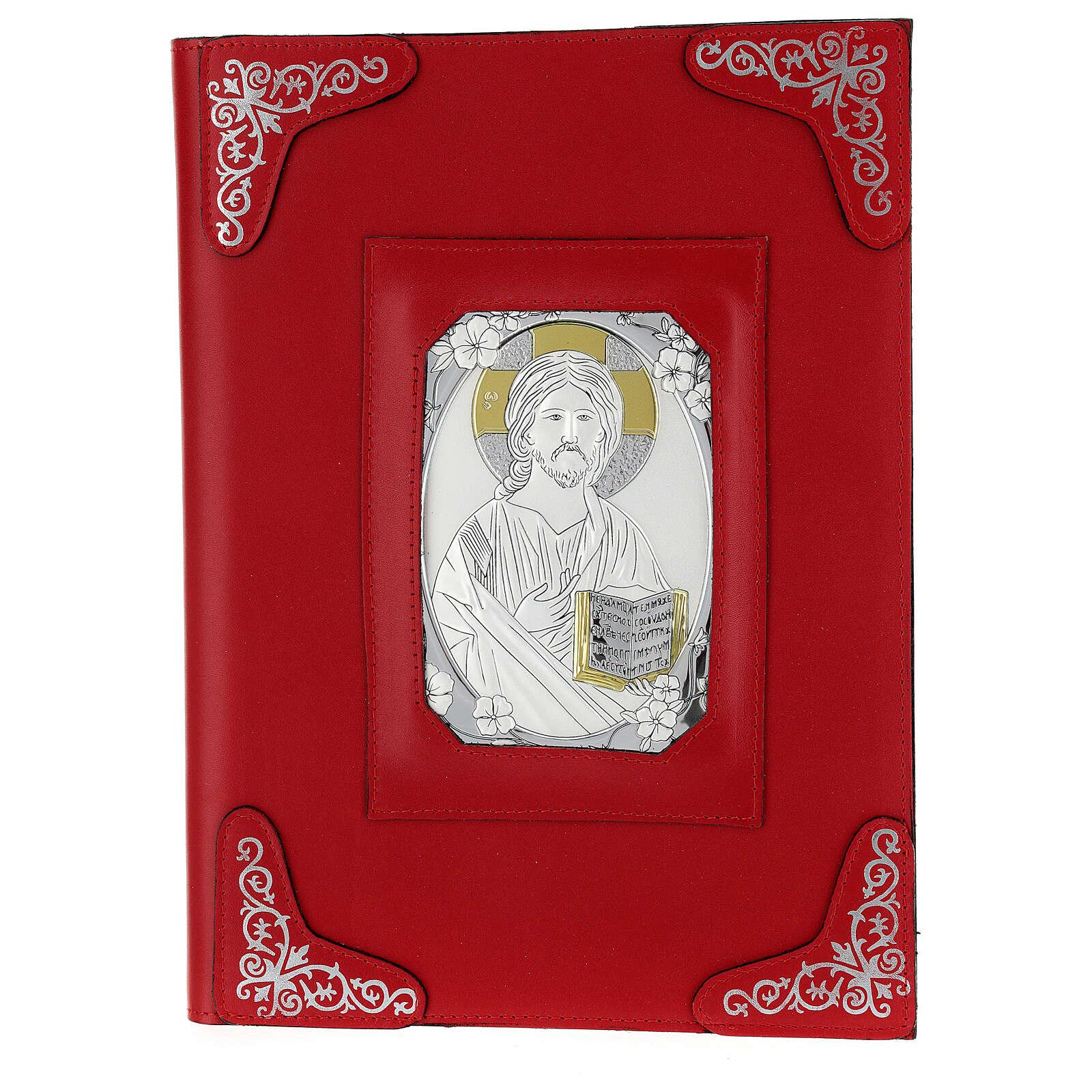 Custodia pelle rossa Gesù Messale Romano III EDIZIONE 4