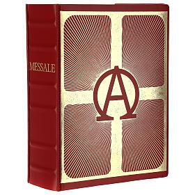 Custodia Messale III edizione vaticana rossa stampa alfa omega vera pelle  s1