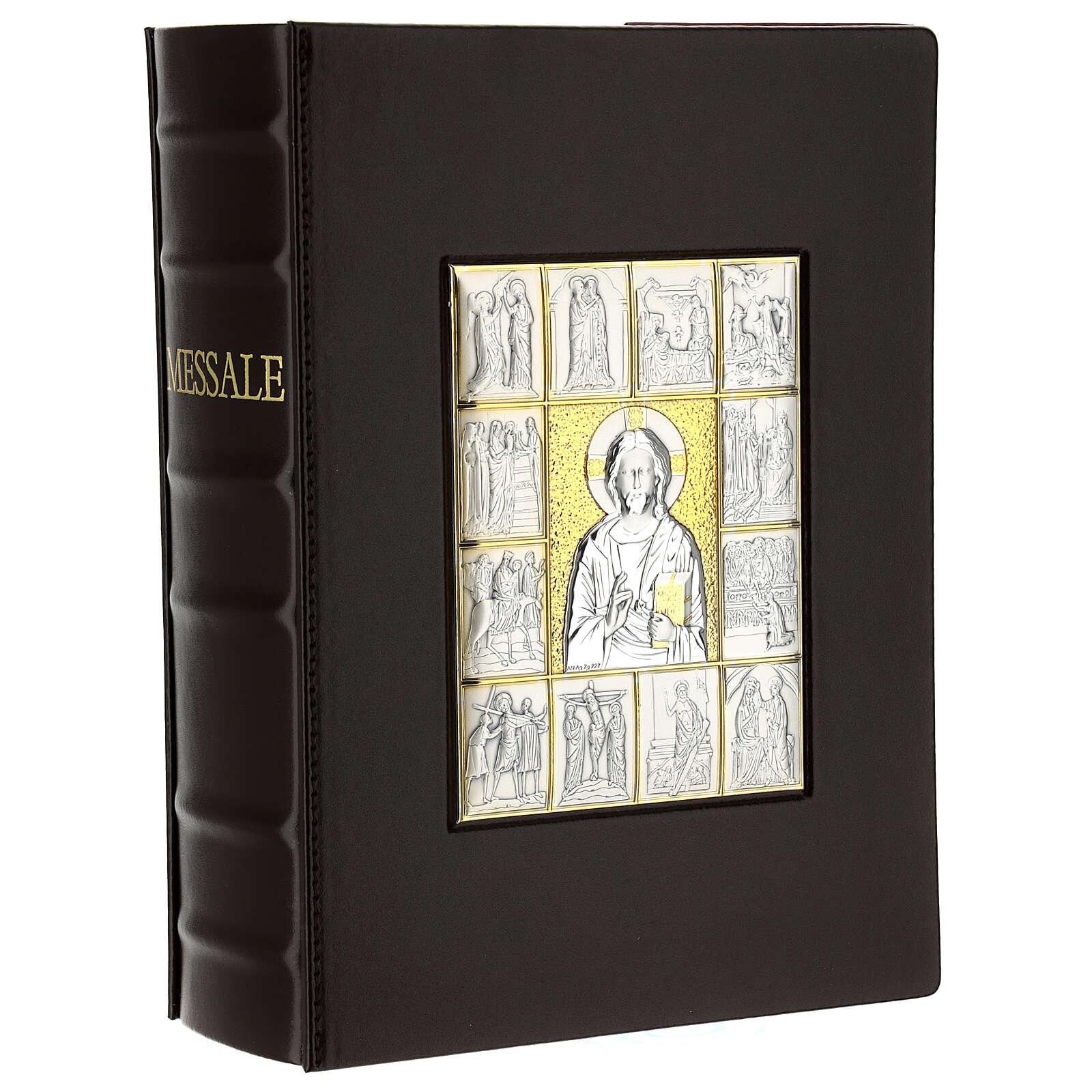 Custodia Messale III edizione pelle marrone placca bilaminato Cristo scene  4