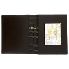 Custodia Messale III edizione pelle marrone placca bilaminato Cristo scene  s3