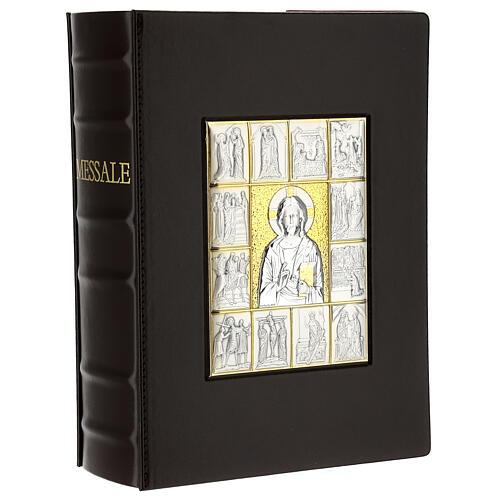 Custodia Messale III edizione pelle marrone placca bilaminato Cristo scene  1