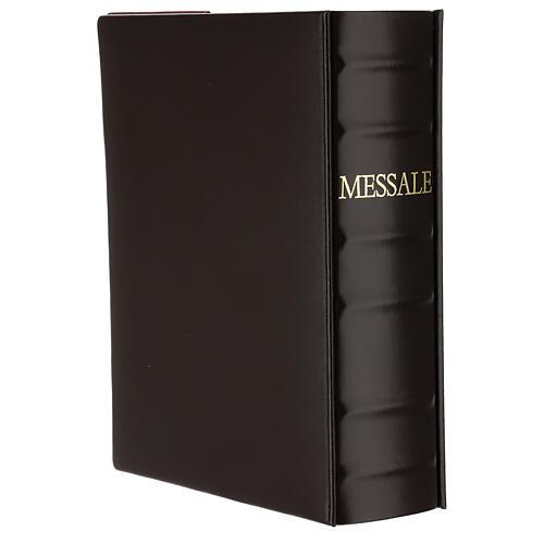 Custodia Messale III edizione pelle marrone placca bilaminato Cristo scene  2