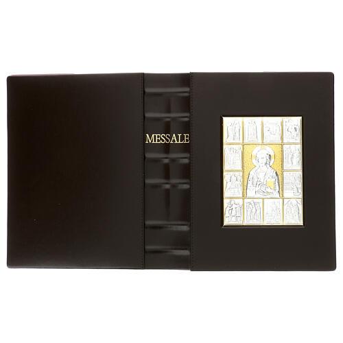 Custodia Messale III edizione pelle marrone placca bilaminato Cristo scene  3